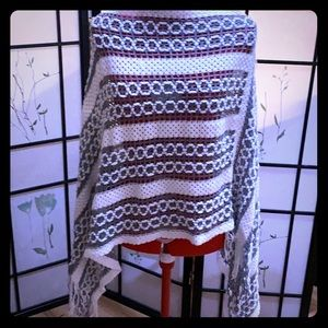 Grey and white Knit Poncho